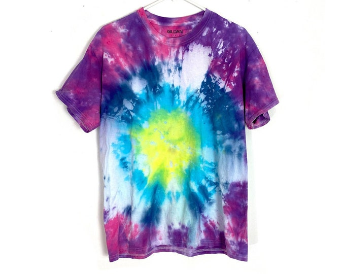 Custom Upcycled Tie Dyed Bright Muliticolored Cotton Tshirt Womens Large Recycled Tee Free Shipping