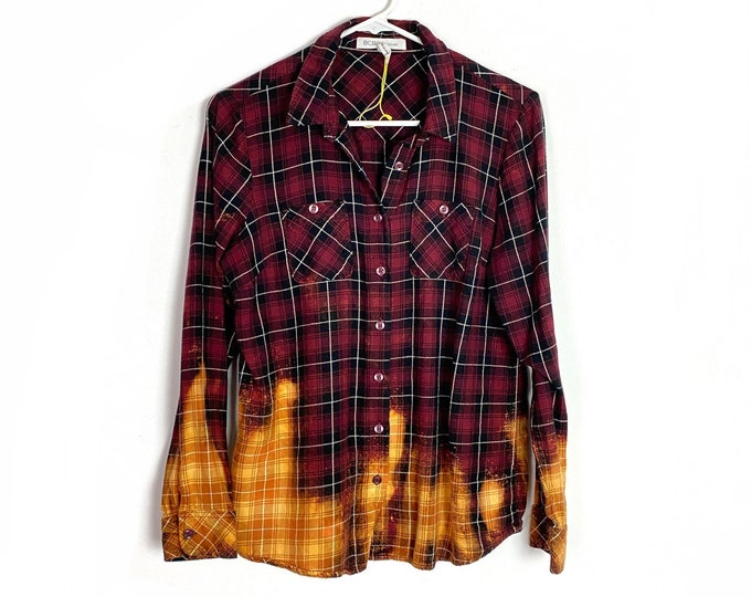 Light Weight Plaid Ombre Custom Bleached Button Down Red Black Orange White Shirt Long Sleeve Womens Small Top