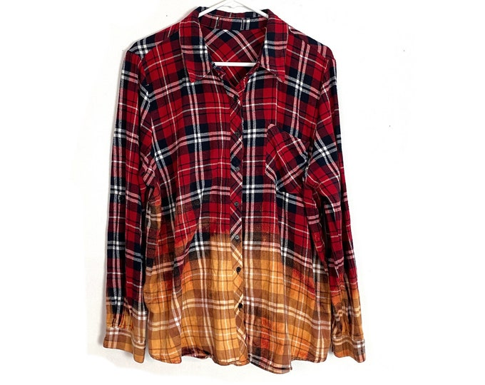 Flannel Button Down Shirt Womens Custom Bleached Ombre Plaid Long Sleeve XL Free Shipping