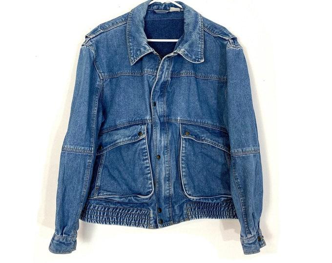Vintage 90s Denim Jean Bomber Jacket Zip Up Blue Unisex XL Free Shipping