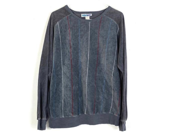 Vintage 80s Velour Pullover Sweatshirt Grey