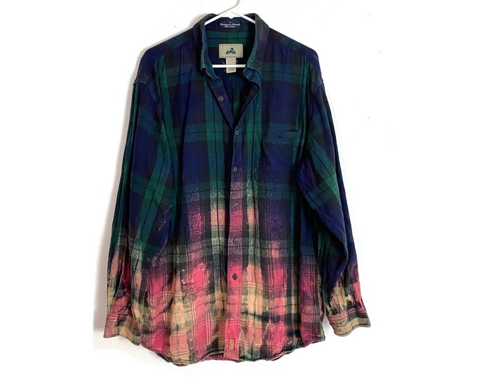Flannel Custom Bleached Ombre Plaid Button Down Shirt Long Sleeve Unisex XL Free Shipping
