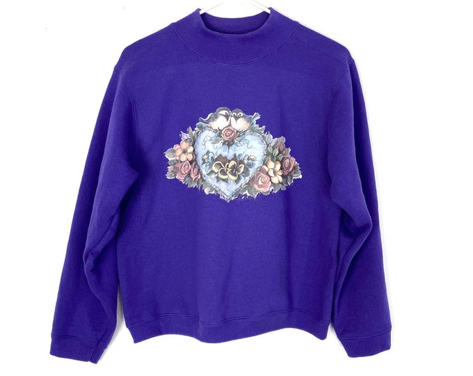 Vintage Love Birds Nerdy Mock Neck Pullover Sweatshirt Womens