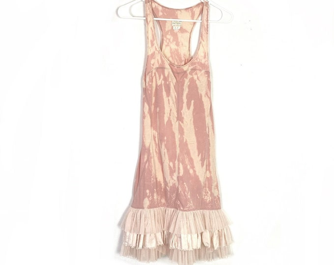 Free People Upcycled Tie Dye Bleached Ruffle Tulle Ballerina Hem Knit Dress Small Womens Pink Free Shipping