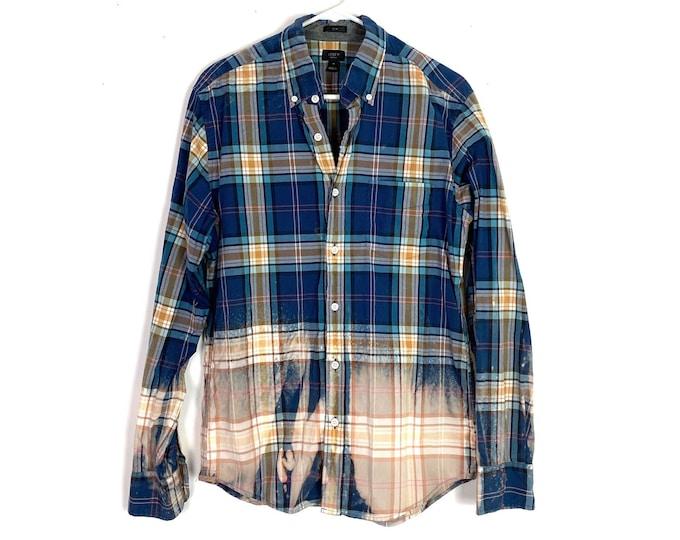 Light Weight Plaid Button Down Shirt Custom Bleached Ombre Long Sleeve Unisex Medium Free Shipping