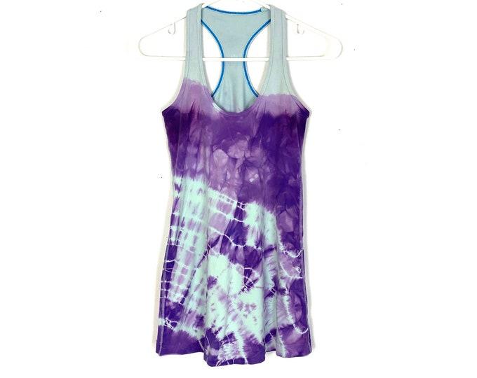 Lululemon Cool Racerback Custom Tie Dyed Tank Top Blue Purple Womens Size 4 Small