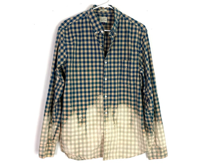 Light Weight Plaid Button Down Shirt Custom Bleached Ombre Long Sleeve Unisex Large Free Shipping