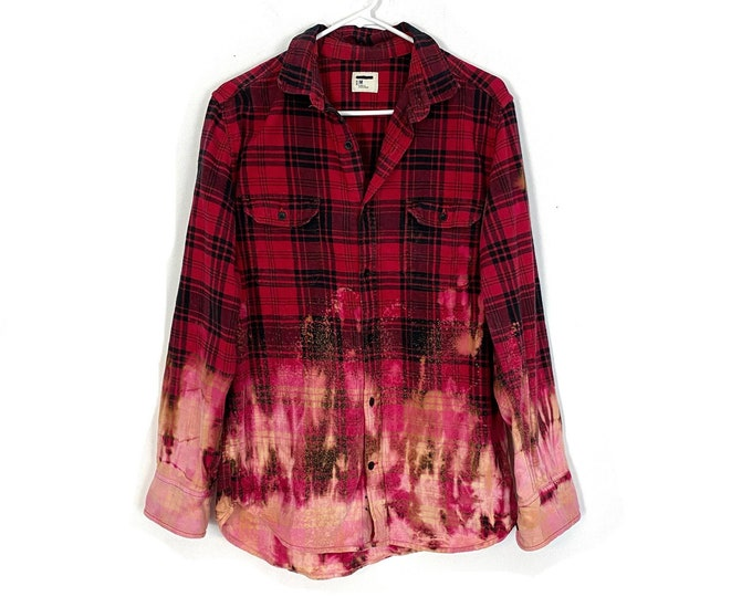 Upcycled Flannel Buttom Down Shirt Plaid Ombre Custom Bleached Red Black Long Sleeve Unisex Mens Medium