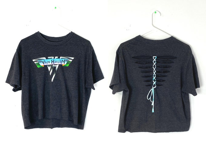 Van Halen Custom Upcycled, Braided, Vented and Cropped Rocker Tshirt Recycled