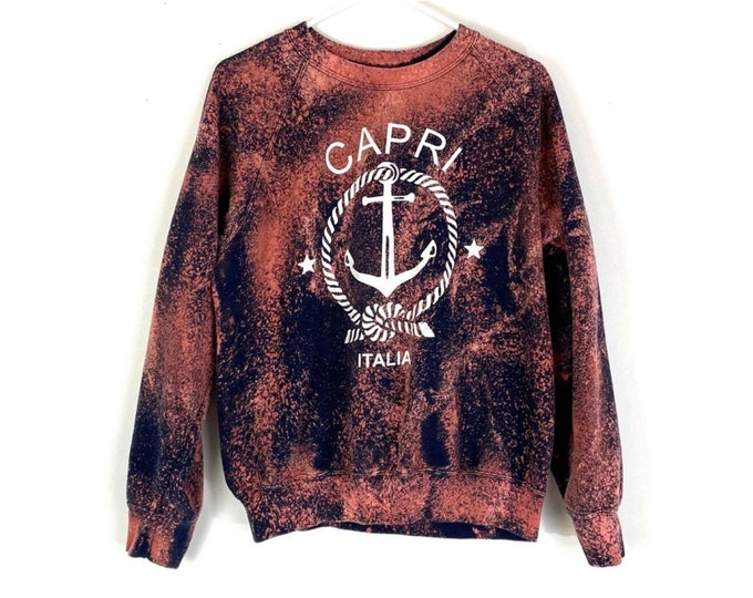 Vintage Custom Bleached Capri Italia Upcycled Pullover Sweatshirt (Recycled)