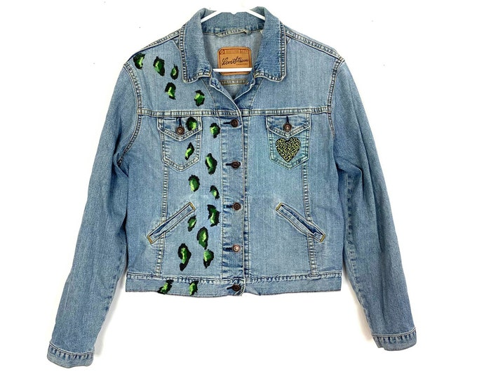 Levi's Jeans Denim Jacket Upcycled Leopard Cheetah Animal Print Blue Green Womens Medium