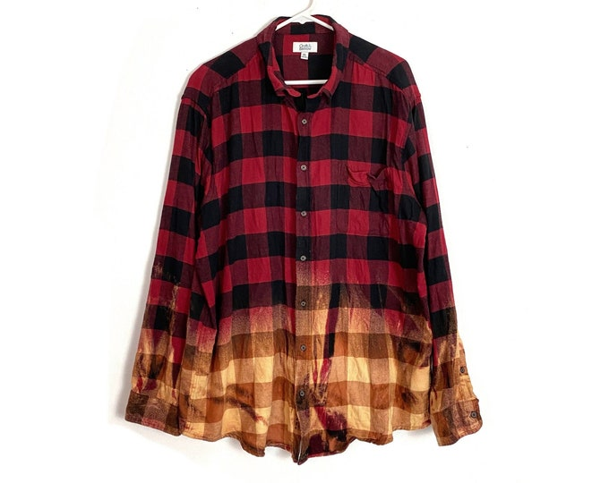 Flannel Button Down Shirt Custom Bleached Ombre Plaid Long Sleeve Unisex XXL Red Black Free Shipping