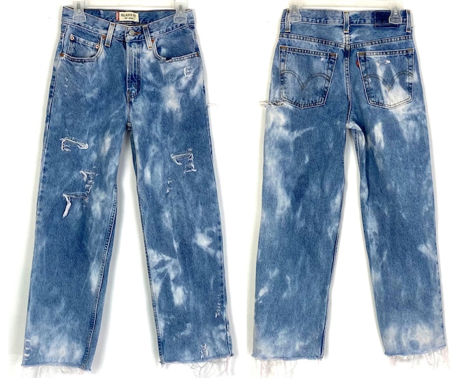 Levi's 550 Custom Bleached, Distressed & Destroyed Zip Fly Skater Mom Jeans
