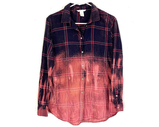 Upcycled Plaid Ombre Custom Bleached Button Down Shirt Long Sleeve Womens Blue Red Small Free Shipping