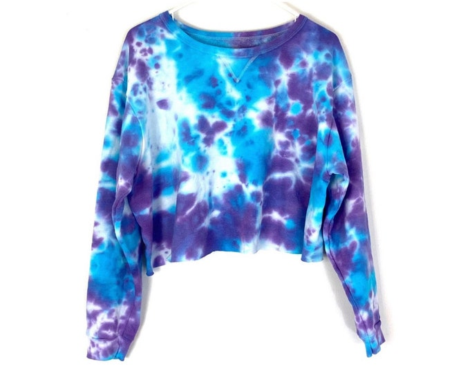 Boxy Cropped Sweatshirt Custom Tie Dyed with Long Off Sleeves