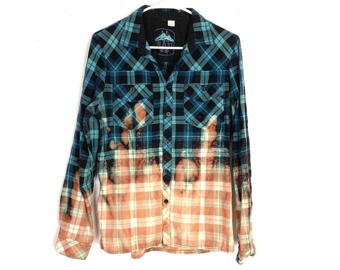 Light Weight Plaid Button Down Shirt Custom Bleached Ombre Long Sleeve Women's Medium Free Shipping