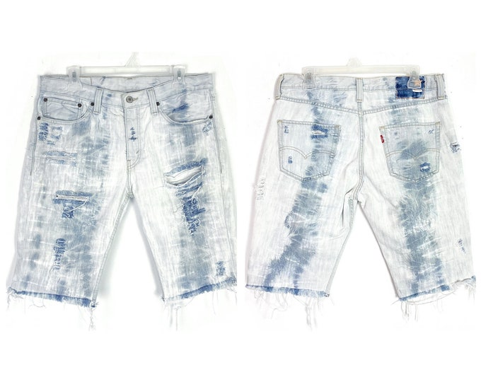 Levi's 511 Upcycled Custom Distressed Bleached Denim Jean Shorts Unisex Size 31 32 Free Shipping