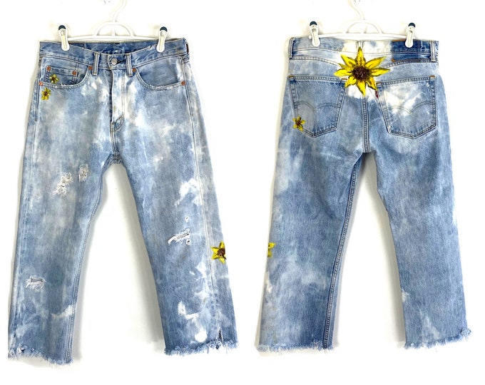 Levi's Hand Painted 505 Custom Bleached & Totally Destroyed Denim Jeans 1990s Grunge Inspired