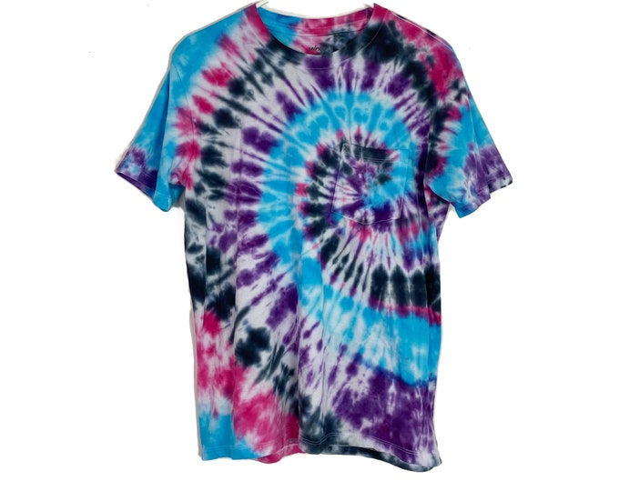 Custom Upcycled Spiral Tie Dyed Muliticolored Cotton Tshirt Womens Large Recycled Tee Free Shipping