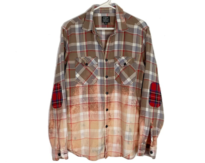 Upcycled Mid Weight Flannel Button Down Shirt Unisex Custom Bleached Ombre Plaid Long Sleeve Large Tan Free Shipping