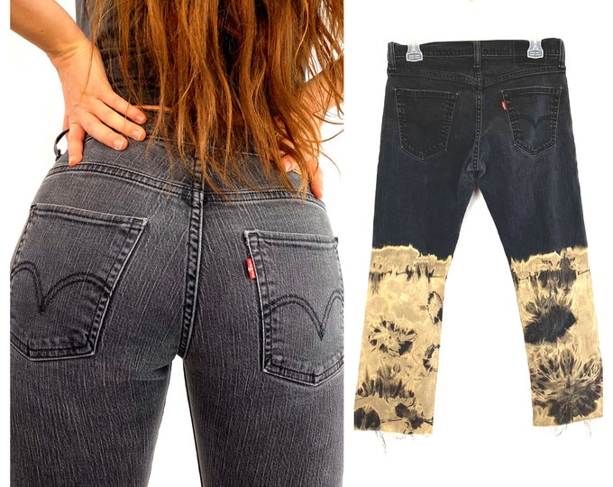 Levi's Custom Ombre Bleached Faded Black 514 Slim Cropped Jeans