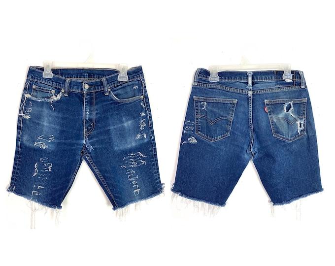 Levi's Upcycled Custom Distressed Frayed Denim Jean Shorts Unisex Size 29 Free Shipping