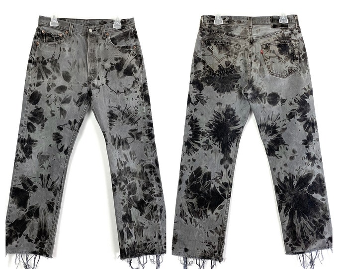 Levi's 501 Vintage Custom Bleached Button Fly Grey Denim Jeans