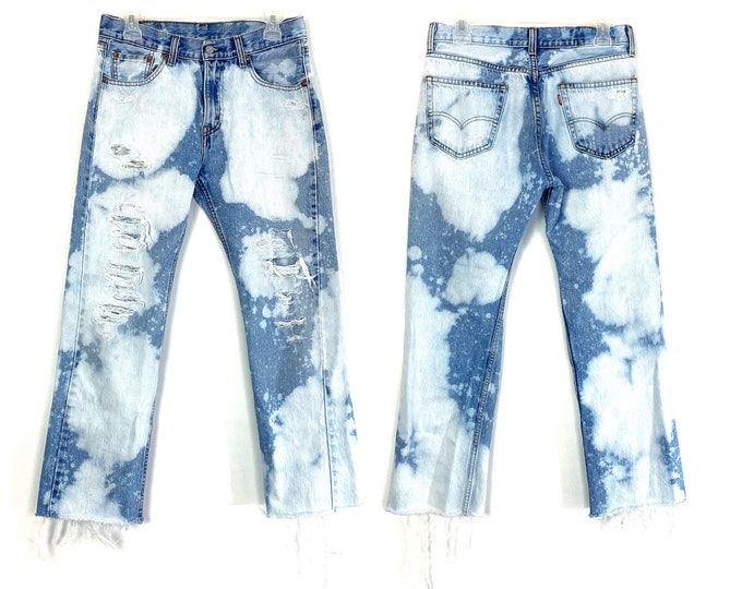 Levi's Cow Print Inspired 1990's Grunge Look 505 Custom Bleached & Destroyed Jeans