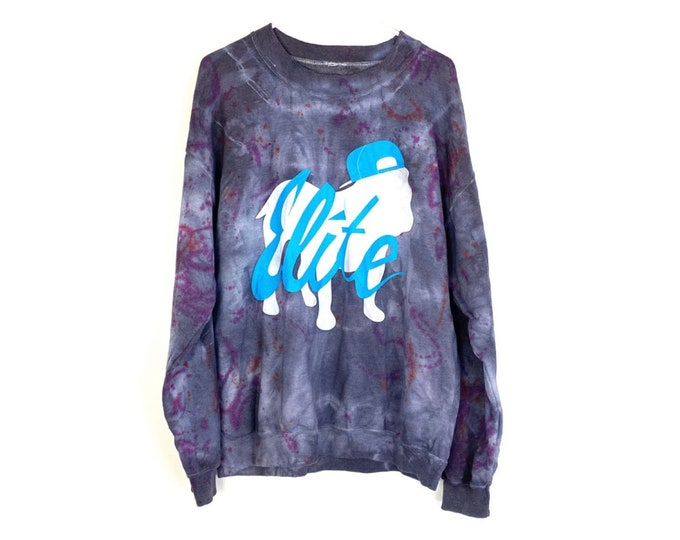 Tie Dyed Pullover Sweatshirt Custom Upcycled UNISEX Up There Apparel Dog with Hat (recycled)