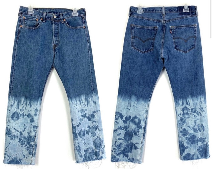 Levi's 501 Button Fly Custom Bleached & Destroyed Ombre Jeans
