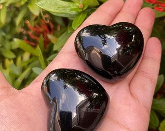"Large Black Obsidian Heart, 1.75"" Polished Black Obsidian Puffy Heart, Black Obsidian Palm Stone, Worry Stone, Wholesale Bulk Lot"