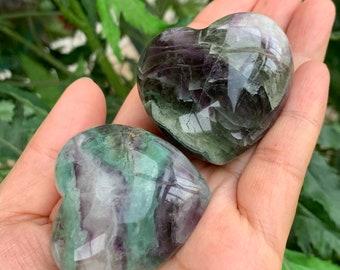 "Large Rainbow Fluorite Heart, 1.75"" Fluorite Puffy Heart, Fluorite Palm Stone, Green Fluorite, Purple Fluorite, Healing Crystals and Stones"
