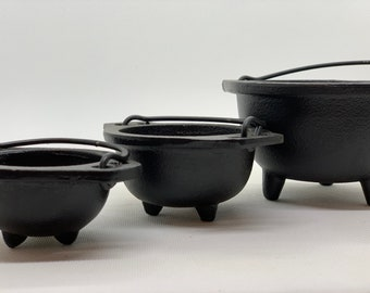 """Cast Iron Cauldron With Handle, 2.5"""" 3"""" & 6"""" Diameter Handle to Handle For Smudging, Incense Burning, Ritual, Candle Holder, Pick a Size"""
