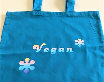 Retro Vegan ombre rainbow flowers Tote Bag warm blue 100% Cotton Great Gift for Hippy Vegan or Vegetarian plant-based Boho Christmas Gift