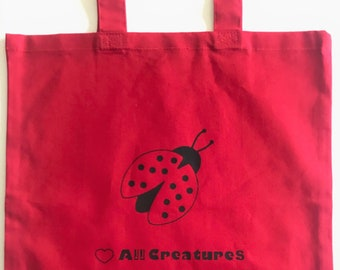Ladybug Bag! Red Tote 'Heart all Creatures' 100% Cotton Canvas, Vegan vegetarian, Great gift! Shopping, Bookbag - Perfect Valentine gift