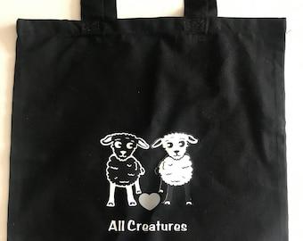 Sheep Heart Black White Sheep Tote 'Heart all Creatures' 100% Cotton Canvas Vegan vegetarian Great gift! Shopping Bookbag  Christmas Present
