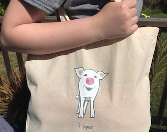 Vegan Pig Bag!  (Pigtail Set) 100% Cotton Tote Shoulder Bag Beige/Natural, White, Pink piglet and text, gift for animal-loving friend