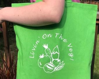 Livin' on the Veg! Vegan Logo Veggie Tote Bag - 100% Cotton vibrant green, gift for veggie/vegetarian friend, eco/planet/animal loving