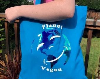 Planet Vegan Happy Earth Logo Veggie Tote Bag 100% cotton blue /metallic continents, gift for veggie, plant-based, eco planet loving friend