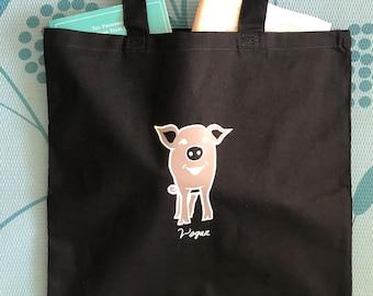 Vegan Pig Bag! 100% Cotton Tote Shoulder Bag - Black + Grey white piglet + text, great gift for animal fan friend, planet emo gothic ghost