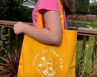 Livin' on the Veg! Vegan Logo Veggie Tote Bag, sunny golden yellow 100% cotton, gift for vegan/vegetarian/plant-based healthy friend!  Eco