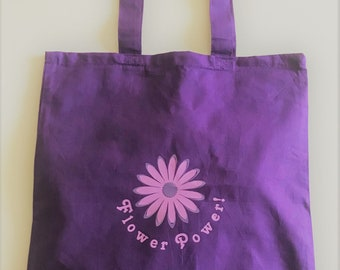 Flower Power Retro Tote Bag Purple Daisy 100% Cotton Canvas - Great Gift for Retro Hippy Vegan or Vegetarian plant-based Boho Christmas Gift