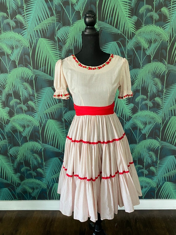 70's Swiss Dot Square Dancing Dress