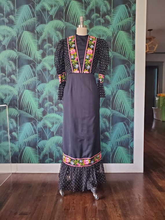 Victorian Inspired 1970s Maxidress - image 1