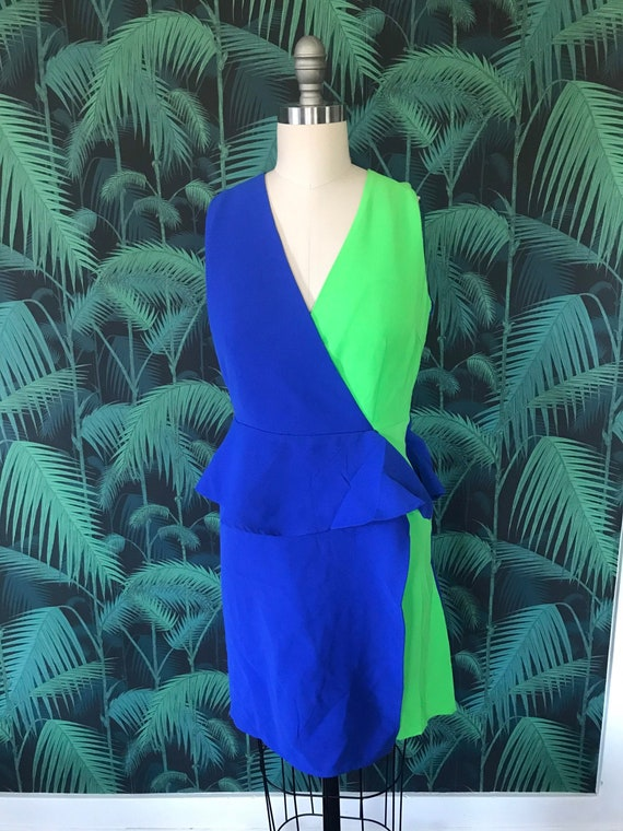 Rad Blue and Green 80's Party Dress