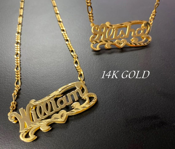 Name plate Necklace- 14k Gold Nameplate Necklace- Custom Necklace- Name Necklace- Double Plated Name Necklace- Custom Jewelry- Nameplate