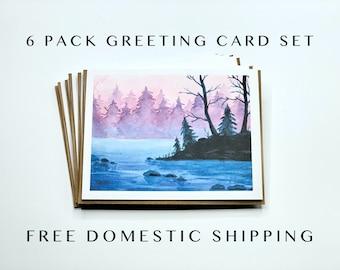 Watercolor Nature Greeting Card Set, 6 Pack cards with envelopes, box cards, bulk cards, greeting card packs, card box set gifts