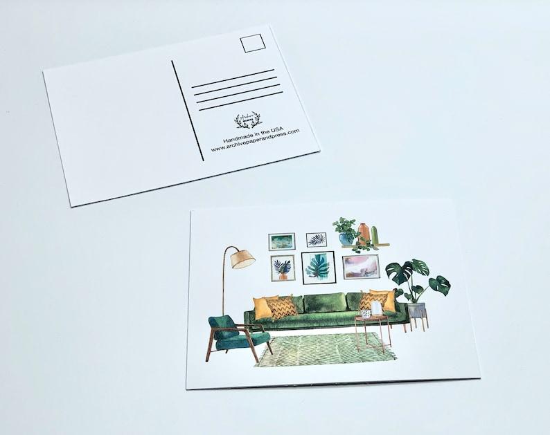 4 Post Cards mail watercolor postcards letter penpal modern postcards cards Midcentury Furniture Postcards postcrossing