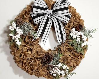 Winter Wreath Winter Burlap Wreath Natural and Cream  Chevron Burlap Wreaths Wreath for All Year Everyday Wreath Welcome Wreath
