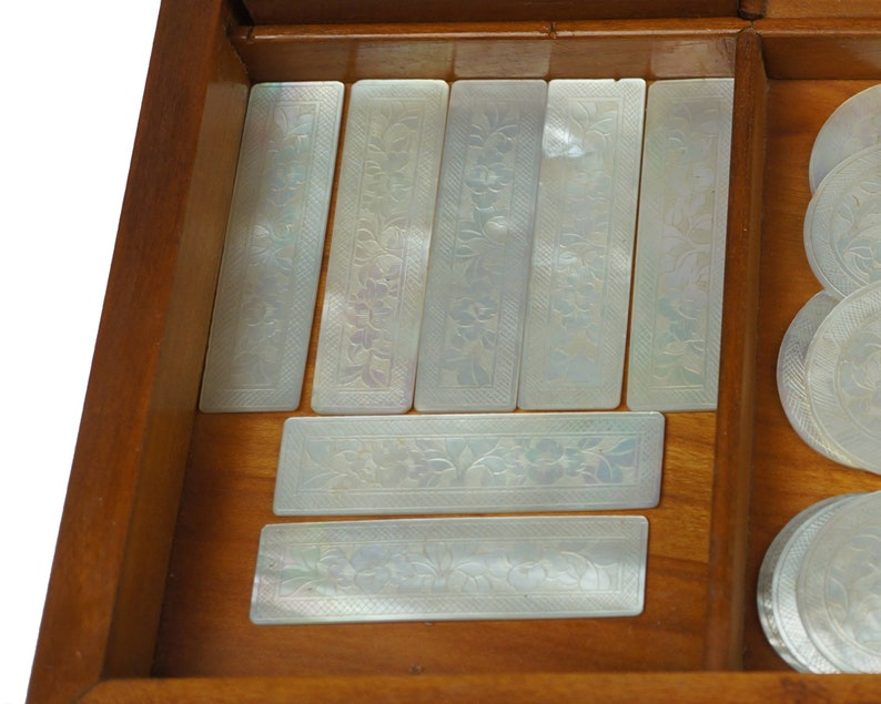 Antique Chinese Game Counters 34 MOP Disks Plus 195 Coloured Chips with Wood Box